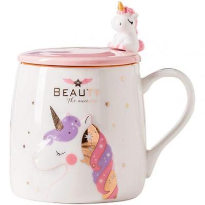 BigNoseDeer Unicorn Mug Cute Ceramic Coffee Mug with lovely Unicorn Spoon